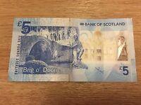 Bank of Scotland £5 Five Pound Note  - Sir Walter Scott / Brig o'Doon AA007709