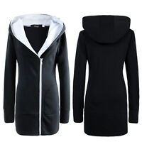 Oversize Womens Hooded Jacket Ladies Winter Casual Long Zipper Outerwear Coat UK