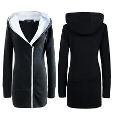 Damen Jacke Mantel Winterjacke Kapuze Gefüttert Sweatjacke Hoodie Outwear 34-48