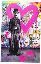 Mr Brainwash Charlie Chaplin Heart Print Promo banksy kaws andy warhol madonna