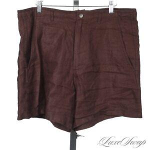 #1 MENSWEAR 18 East Mfg. Cigar Brown 100% Linen Unlined Twill Border Shorts M NR