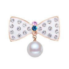 Elegante ABITO CAPPOTTO decorazione bianco perla strass bow knot SPILLA PIN BR366