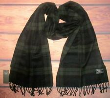 MENS ABERCROMBIE & FITCH PLAID CHECKED DARK OLIVE BLACK SCARF