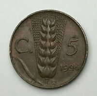 Dated : 1924 - Italy - Five Centesimi - 5 Cent Coin - Vittorio Emanuele III