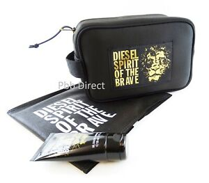 DIESEL MENS WASH BAG SET TOILETRY SHAVE POUCH & SHOWER GEL SPIRIT OF THE BRAVE