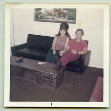 Big HAIR Woman w Man, Couple - 1970s Color Vtg Old PHOTO, kitsch horse painting