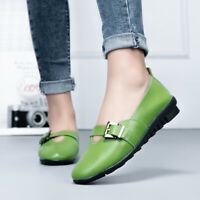 Women Ballet Flats Leather Slip On Flats Square Buckle Closed Toe