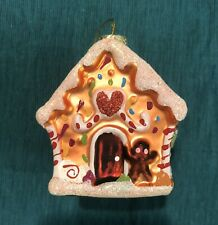 World Market Cost Plus Gingerbread House Glass Christmas Ornament 2009 In Box