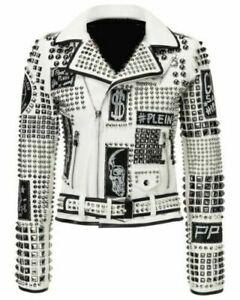 Handmade Men's Leather Studded Punk Style Fashion Jacket