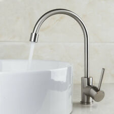 UK Swivel Spout Kitchen Sink Mixer Single Lever Faucet Cold & Hot Taps Nickel