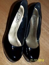 "CANDIES BRAND BLACK SYNTHETIC MATERIAL SZ 8M 1"" PLATFORM 5"" STILETTOS"