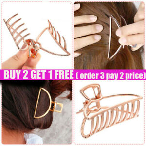 UK Hair Clips for Women Strong Large Traditional Clip Claw Jaw Clamp Grip Metal.