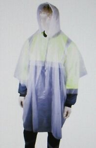 Adult Rain Poncho Disposable Reusable Raincoat Clear Waterproof Hooded Rain Coat