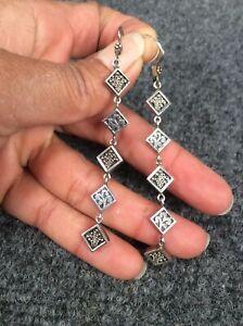 Beautiful Lois Hill Bali Indonesia Sterling silver 925 ornate drop  earrings