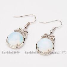 1Pair 0.5mm Brass Findings Flat Round Opalite Stone Bowknot Dangle Hook Earrings
