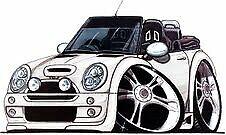 New Mini Cooper Convertible Cartoon car t-shirt - White car image on white shirt