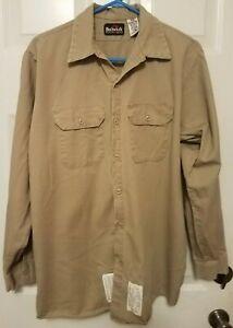 Bulwark Excel FR Work Shirt Men LS Button Front Flame Resistant Khaki Size L