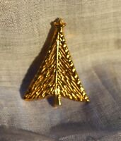 Christmas Tree textured gold tone  BROOCH