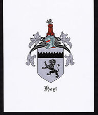 HOGT Coat of Arms & Family Crest - Vintage Print