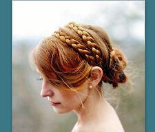 Wide Double  Braided Headband hair piece wig wedding hair diadem custom color
