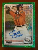 Connor Cannon 2020 1st Bowman Chrome Green Ref Prospect Rookie Auto Card #/99