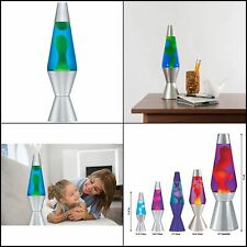 """Lava the Original 14.5"""" Silver Base Lamp with Yellow Wax in Blue Liquid f"""