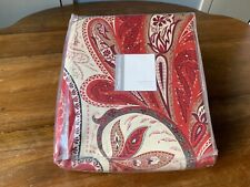 Crate And Barrel King Duvet Cover Serena Paisley Red 100 % Cotton 220 Count.