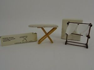 Dollhouse Miniature Vintage Towel Rack Linens Ironing Board