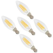 5er E14 Sockel 4W Klar Warmweiß Glass LED Fadenglühbirne Glühfaden Kerzenlampe