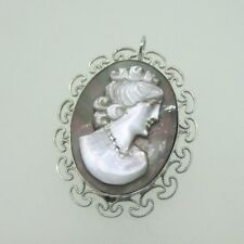 Abalone Pendant & Pin Brooch Sterling Silver Vintage Style Cameo