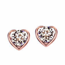 Rose Gold Plated Stud Lab-Created/Cultured Sterling Silver Fashion Earrings