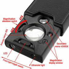 3 Light Jeweler Loupe 30x 45x 60x LED UV Lighted Magnifier Loop Magnifying Glass