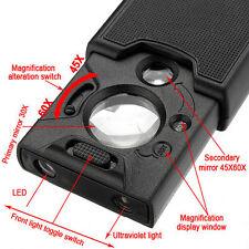 30x 45x 60x Led UV Light Jeweller Magnifying Glass Magnifier Loupe Len New Tiny