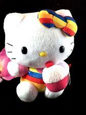 FABULOUS NWT PLUSH TY  BEANIE BABIES HELLO KITTY RAINBOW CUPCAKE STUFFED TOY