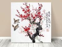 """Stunning Classic Asian Art ~ Cherry Blossums Birds ~ CANVAS PRINT 12x12"""""""