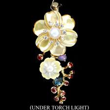 Großer Anhänger Granat Blautopas Opal Perle & CZ 925 Silber 585 gelbvergoldet