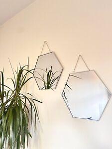 Hexagon Mirror Silver Coloured Bohemian Set - Wall Decor Shaped Vintage Mirrors