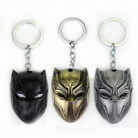 BLACK PANTHER Mask Keychain Metal Keyring Key Ring Fob Marvel Superhero Movie
