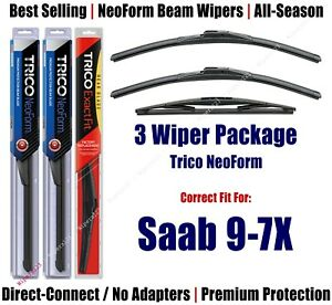 3-Pack Wipers Front & Rear NeoForm - fit 2005-2009 Saab 9-7X - 16220x2/12E