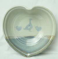 Vintage Neher Pottery 1988 Goose Heart Shaped Bowl- Signed Gorgeous Colors