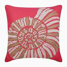 Designer Throw Pillow Cover 16x16 inch Coral Pink, Linen Sea - Coral Sea Shells