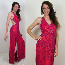 Cache PINK ORANGE BEADED SILK DRESS Art Deco Halter Prom Mermaid New Years Party