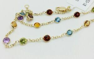 "14k Yellow Gold Citrine Topaz Garnet Amethyst Peridot Anklet Bracelet Chain 10"""