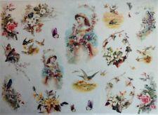 Rice Paper for Decoupage Scrapbook Craft Bird Flowers Girl Butterfly 201
