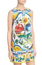 New! $1,795 Dolce & Gabbana Sleeveless Maiolica Floral-Print Shift Dress 38/4 US