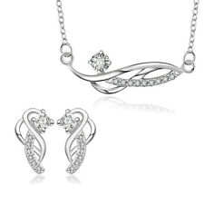 Women's Silver Plated White Rhinestone Wedding Necklace Earring Jewelry Set