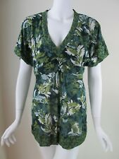 DKNY JEANS Green See Thru V-Neck Short Sleeve Blouse Top Size L