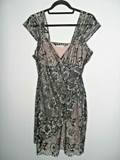 JOSEPH RIBKOFF Dress Size UK16 Black Silver Lace Plus Size Stretch Evening Midi