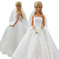 Beautiful Bridal Wedding Gown Embroidery Dress w/ Veil For Barbie Doll Toy Gift