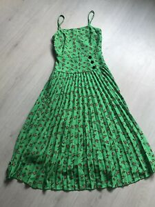 ASOS Green Floral Plisse Cami Skirt Midi Dress Sz 8